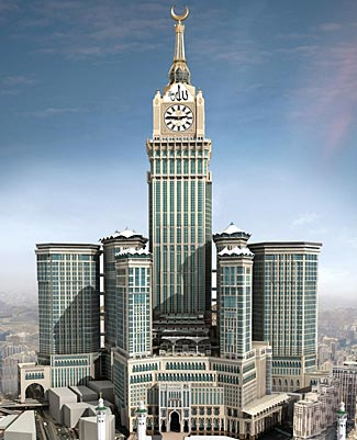 The Royal Clock Tower Hotel in Mecca (also known as the Abraj Al-Bait Towers), at 1972 ft and 120 floors, the tallest building completed in 2012 and now the second tallest building in the world.